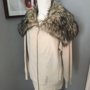 Michael Kors fur collar zip up jacket/sweatshirt,S